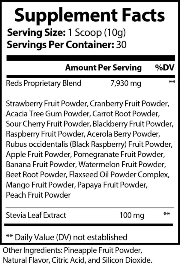 Pride Red Superfood kiwi strawberry Supplement Facts
